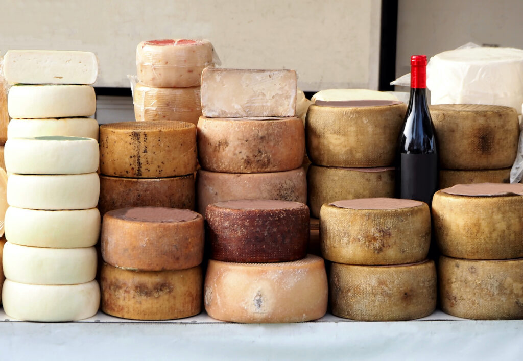 Cheese wheels from Italy.