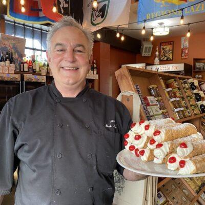 Chef Mark Laska and fresh cannolis.