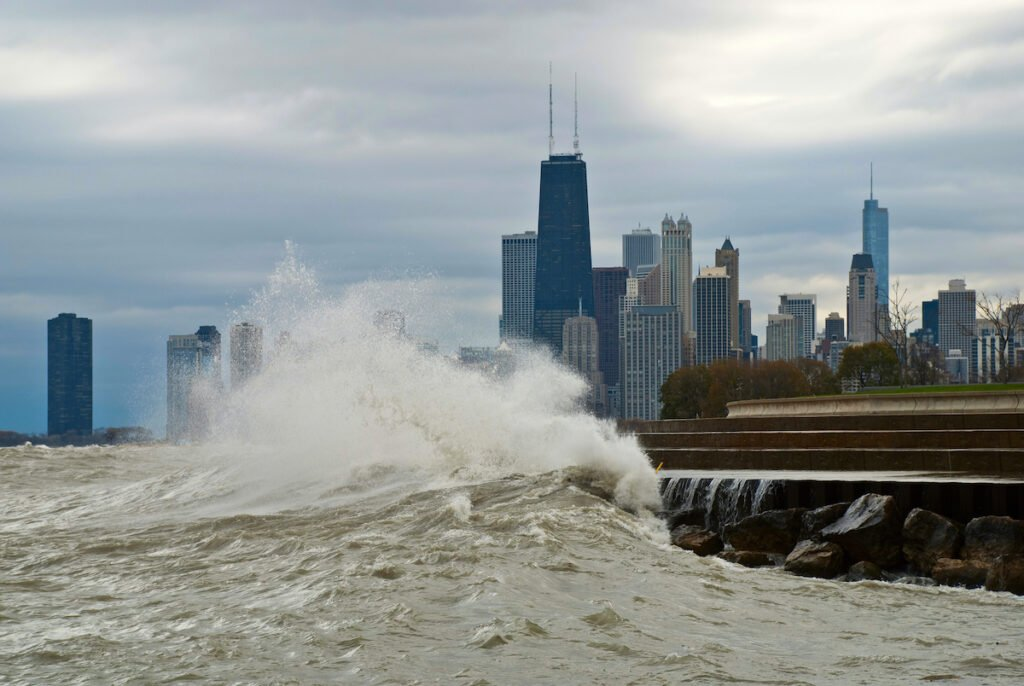 Waves from Lake Michigan near Chicago.