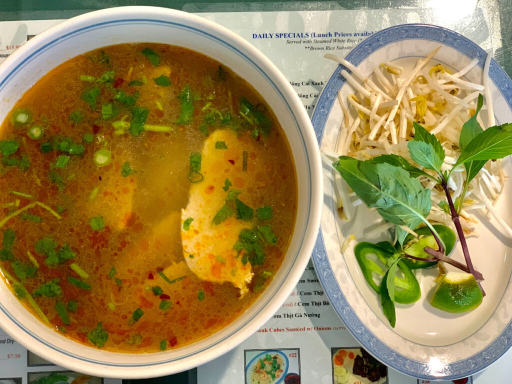 Chicken pho from Pho Cali in Sarasota, Florida.