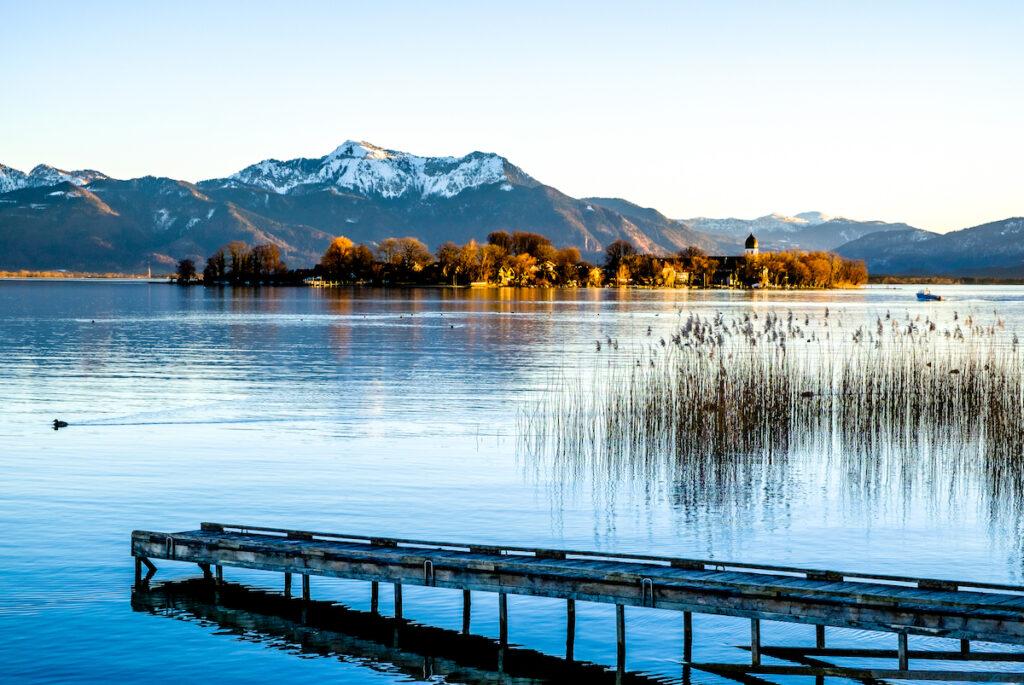 Chiemsee, a lake in Bavaria, Germany.