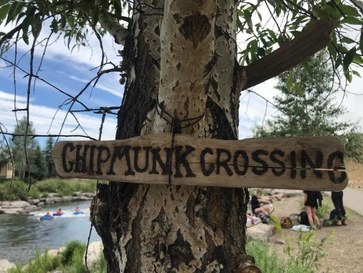 Chipmunk Crossing sign at the Riverwalk.