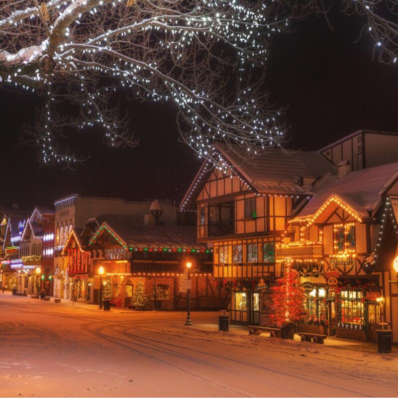 Chirstmas lights in Leavenworth, WA.
