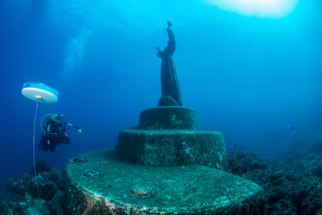 Christ Of The Abyss, an underwater statue near Portofino, italy.