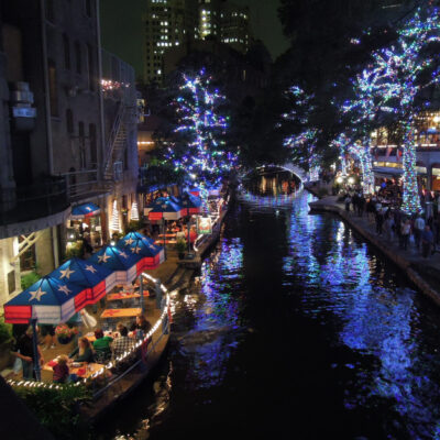 Christmas decorations along the San Antonio River Walk in Texas.