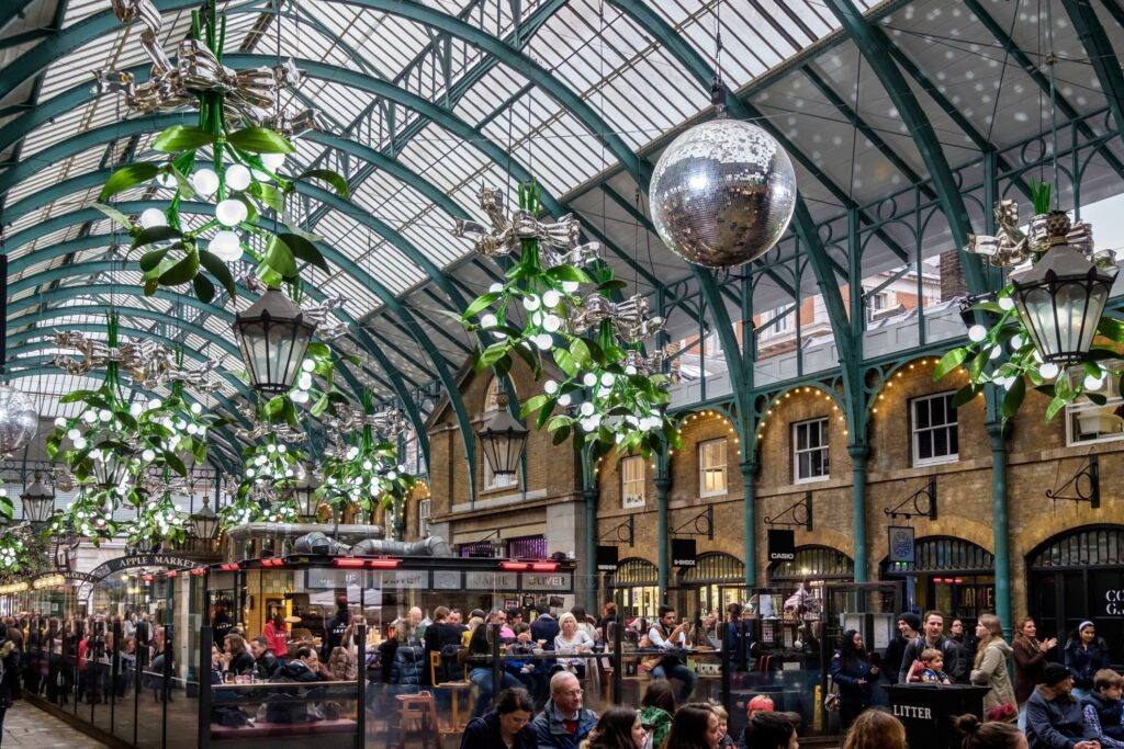 Christmas decorations at London's Convent Garden.
