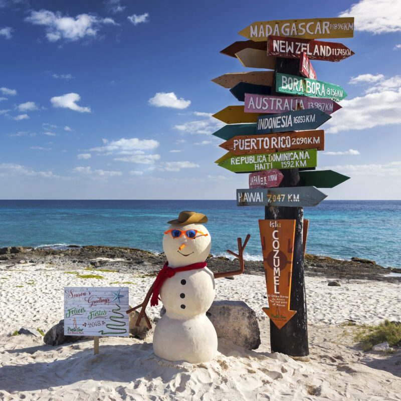 Christmas decorations at Punta Sur Ecological Reserve in Cozumel.