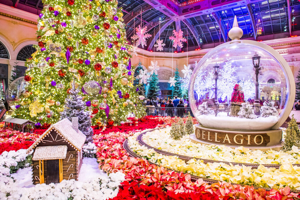 Christmas decorations at the Bellagio in Las Vegas, Nevada.