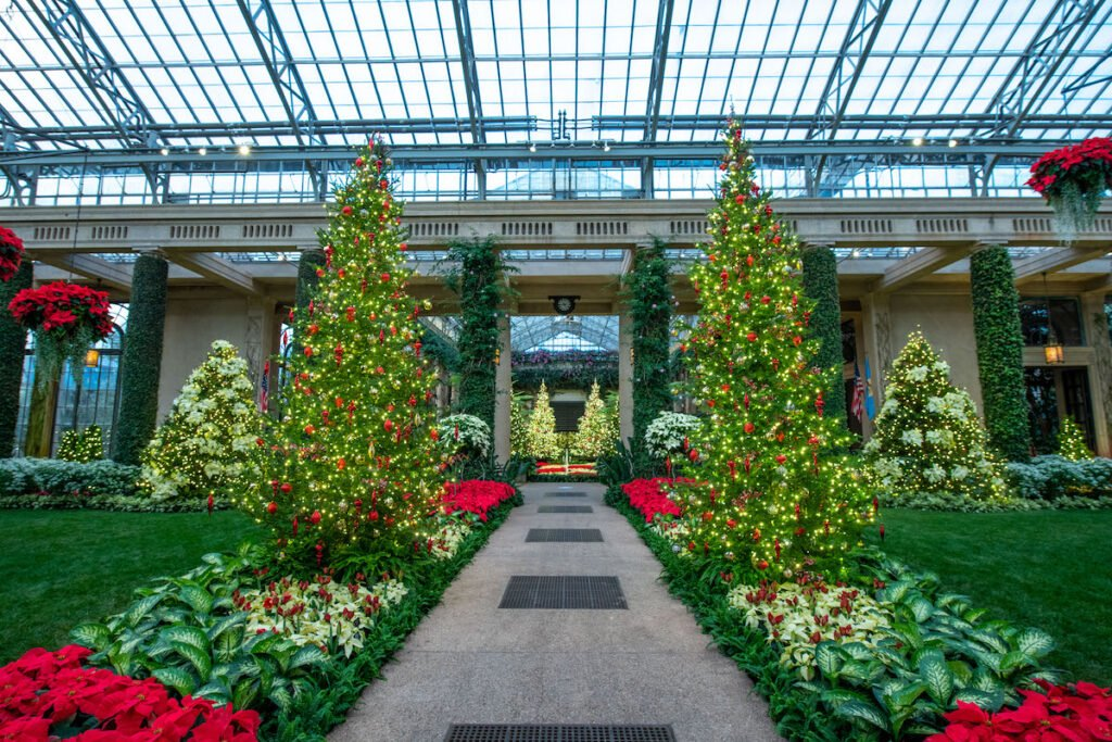Christmas decorations at the Conservatory at Longwood Gardens.