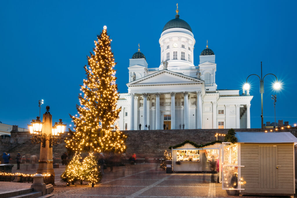 Christmas decorations at the cathedral in Helsinki.