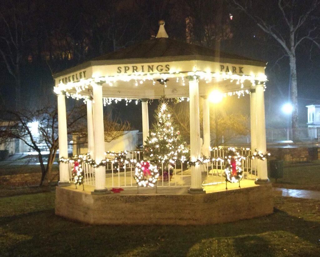 Christmas decorations in Berkeley Springs, West Virginia.