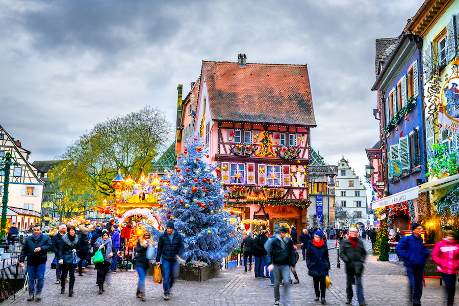 Christmas decorations in Colmar, France.