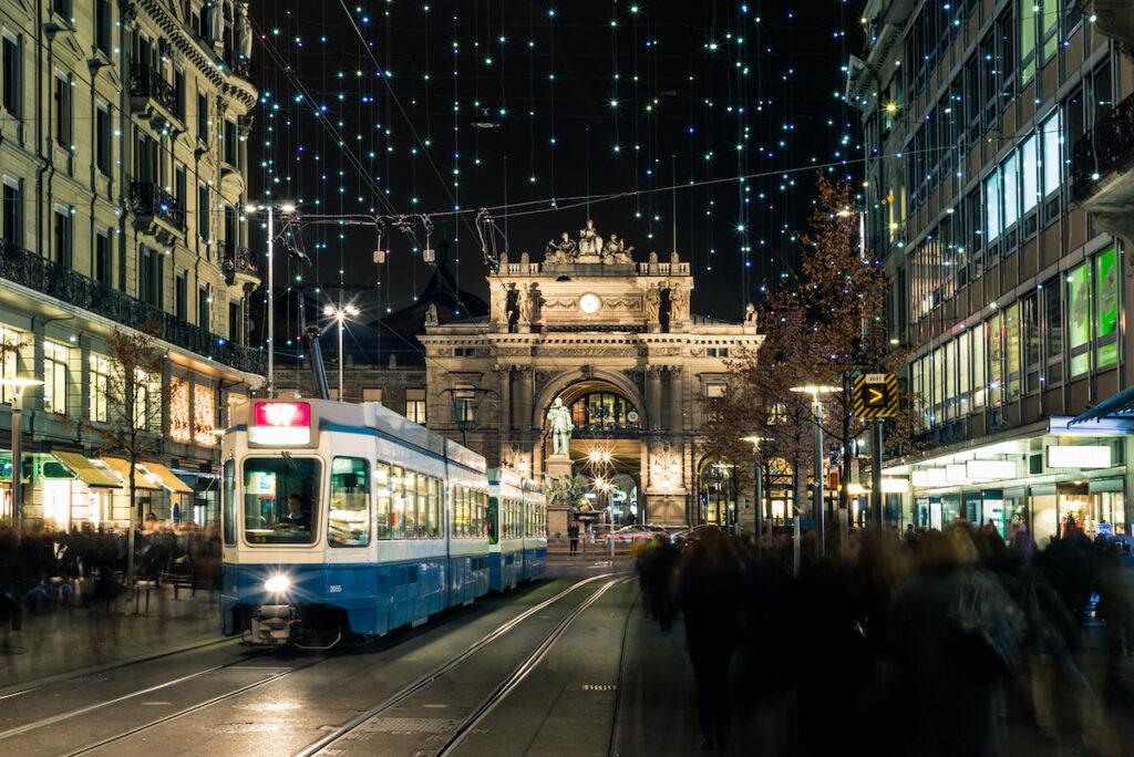 Christmas decorations in downtown Zurich, Switzerland.