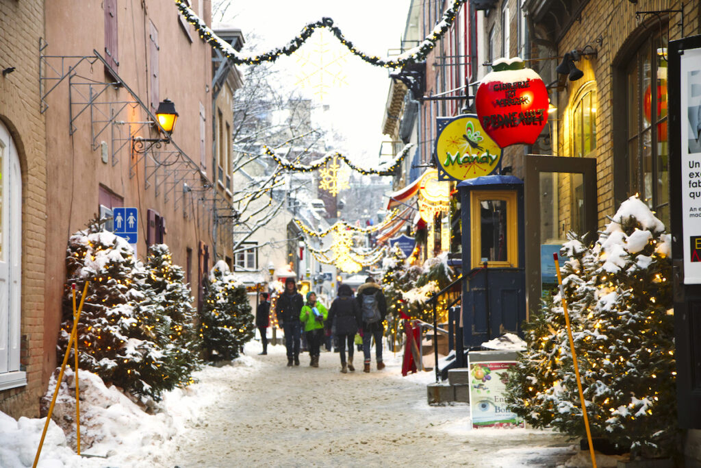 Christmas decorations in old town Quebec City.