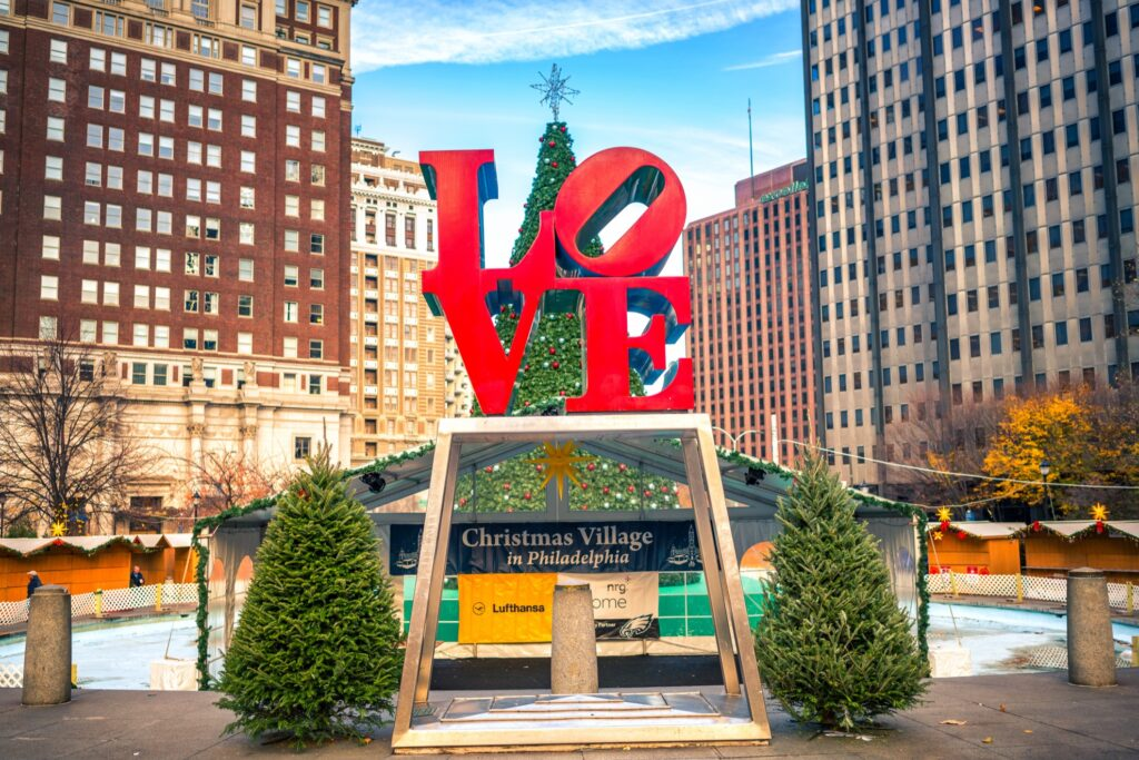 Christmas decorations in Philadelphia.