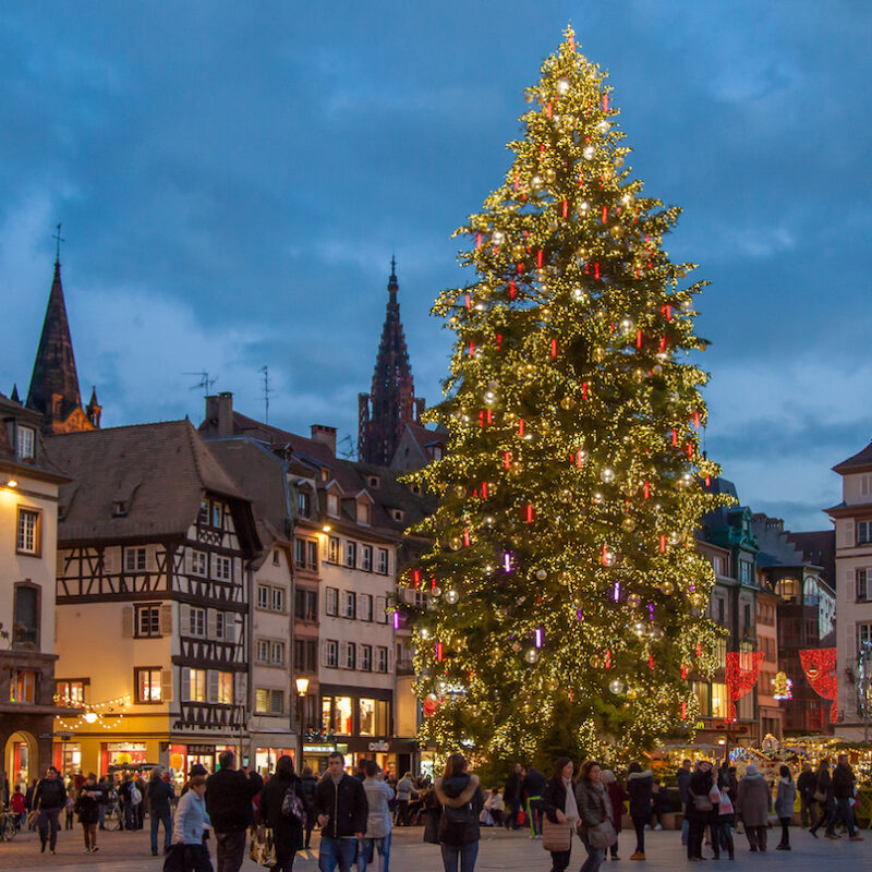 Christmas decorations in Strasbourg, France.