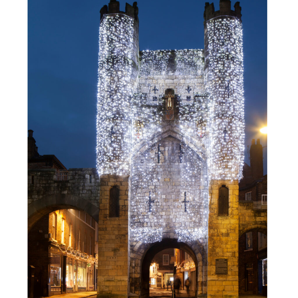 Christmas decorations in York, England.