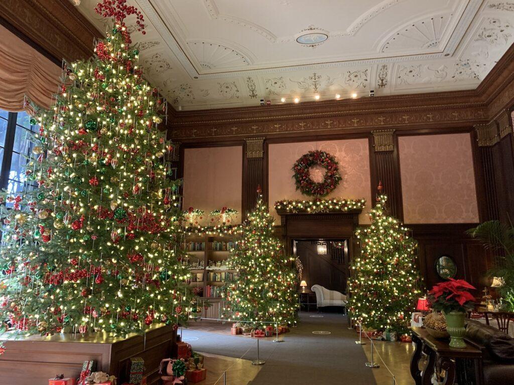 Christmas decorations inside the Peirce-du Pont House.