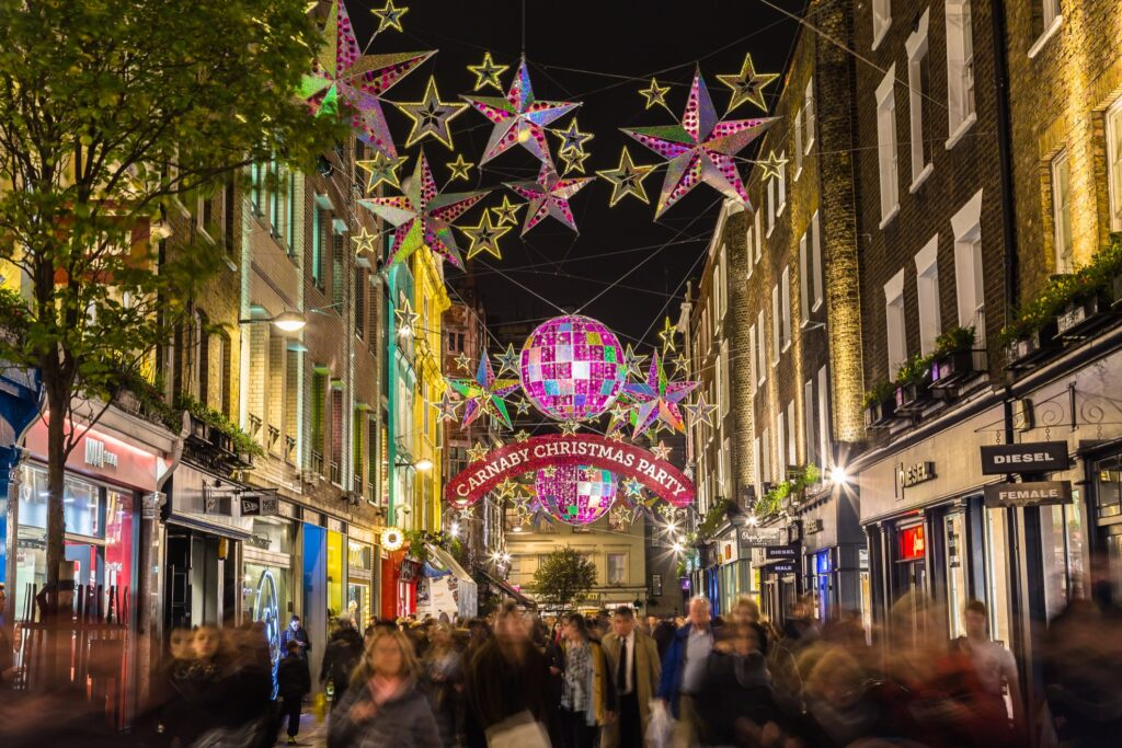 Christmas decorations over London's Carnaby Street.