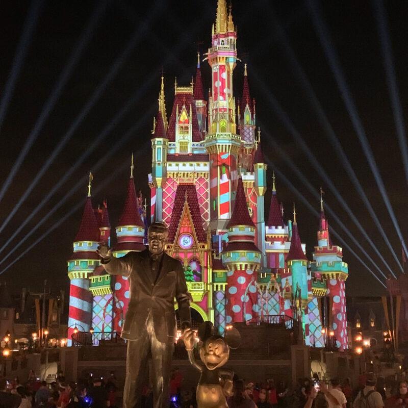 Christmas lights at Disney's Cinderella Castle.