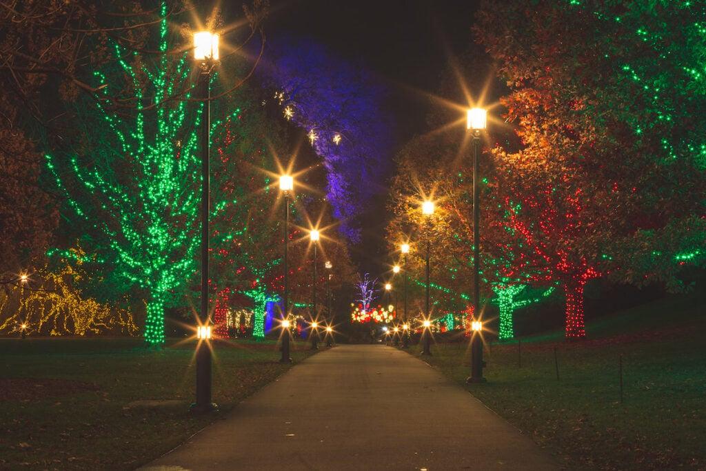 Christmas lights at Longwood Gardens in Pennsylvania.