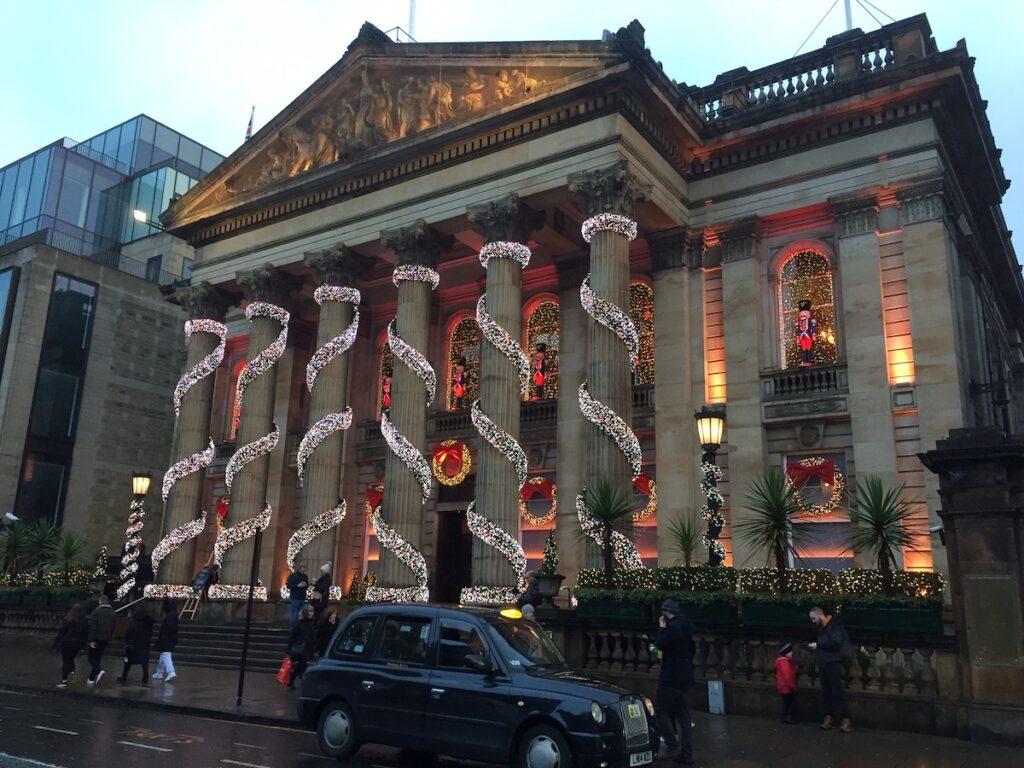 Christmas lights at The Dome in Edinburgh, Scotland.