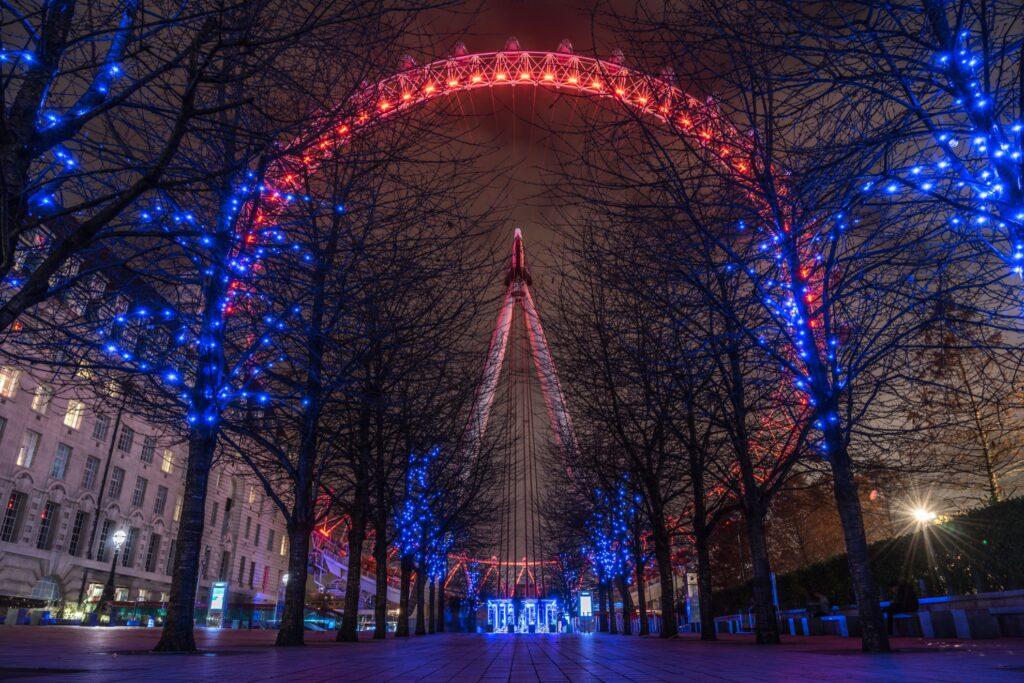 Christmas lights at the London Eye.