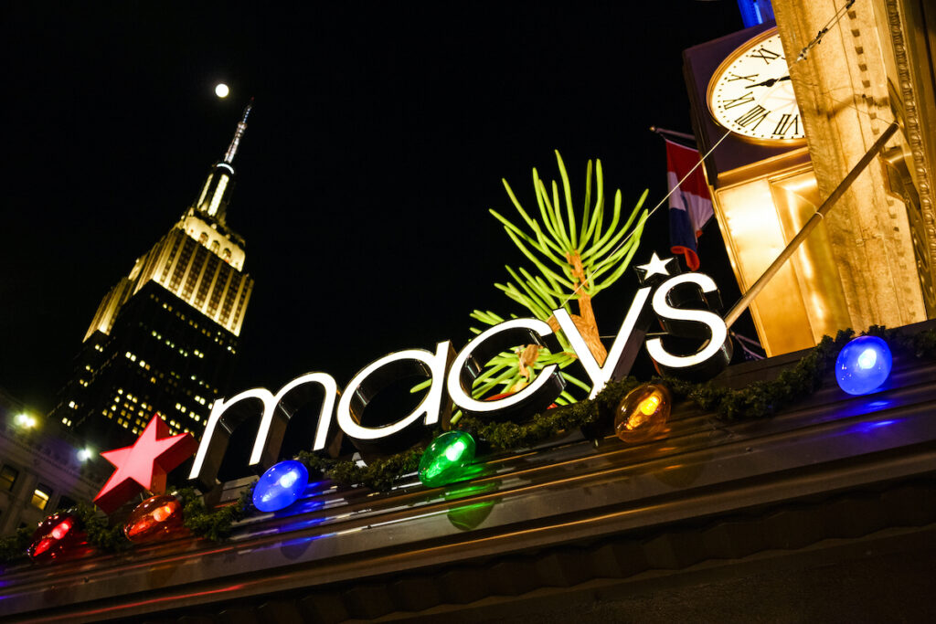 Christmas lights at the Macy's store in New York City.