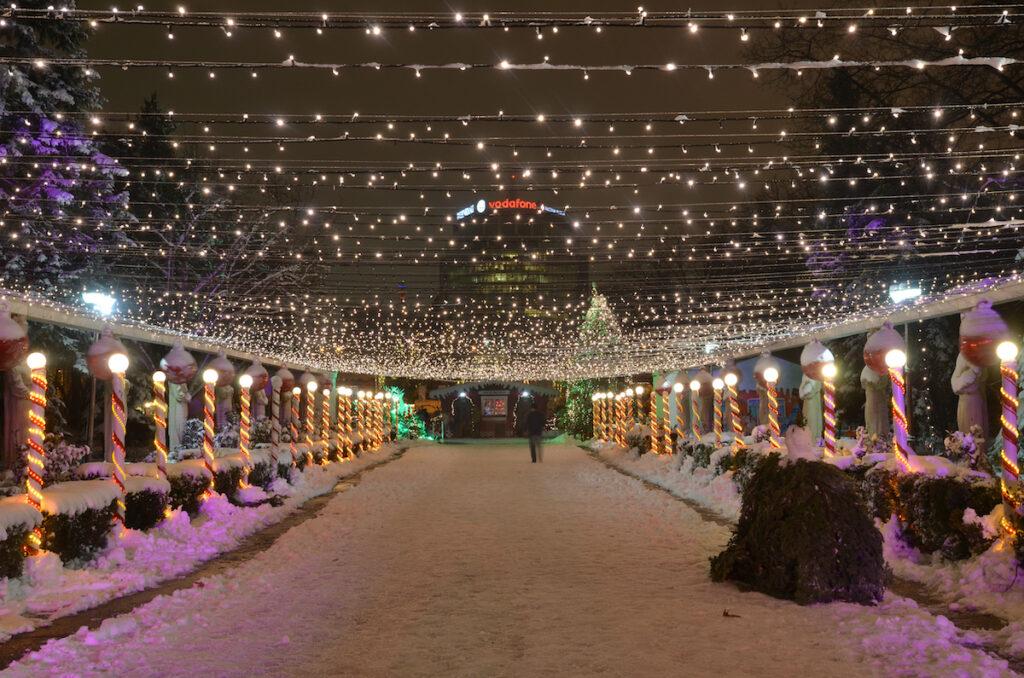 Christmas lights in Bucharest's Herastrau Park.