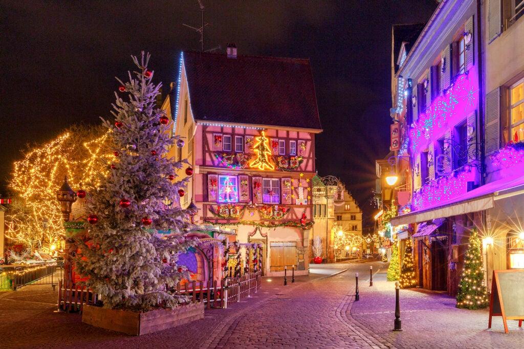 Christmas lights in Colmar, France.