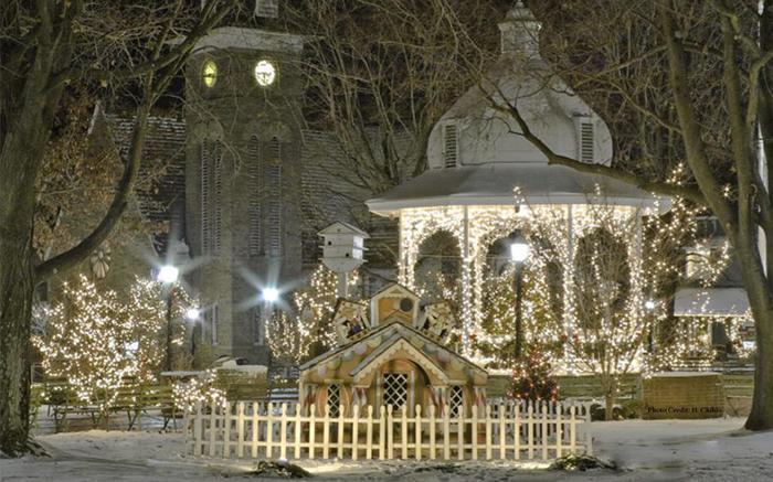 Christmas lights in downtown Ligonier, Pennsylvania.