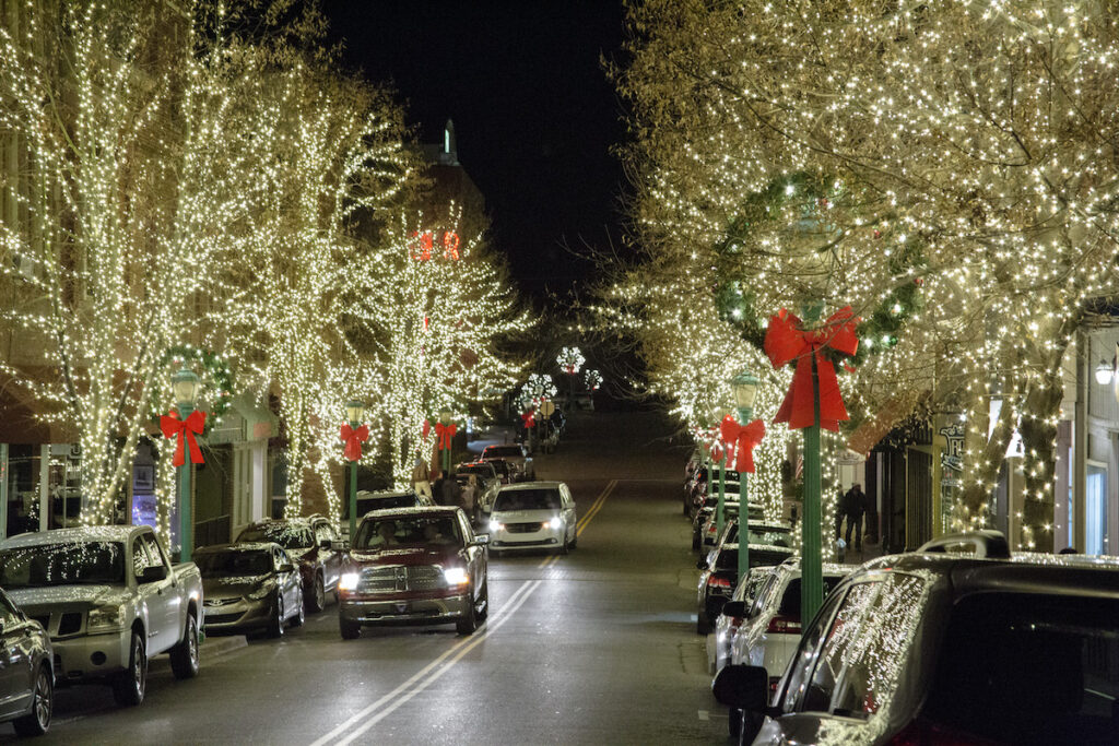Christmas lights in downtown Clarksville, Tennessee.