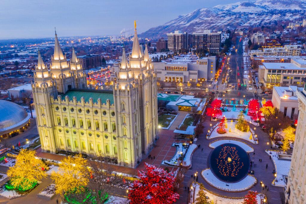 Christmas lights in downtown Salt Lake City, Utah.