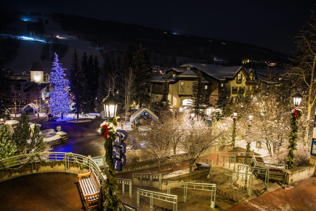 Christmas lights in downtown Vail, Colorado.