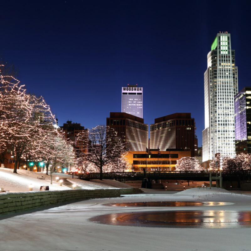 Christmas lights in downtown Omaha