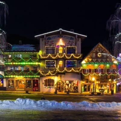 Christmas lights in downtown Leavenworth, Washington.