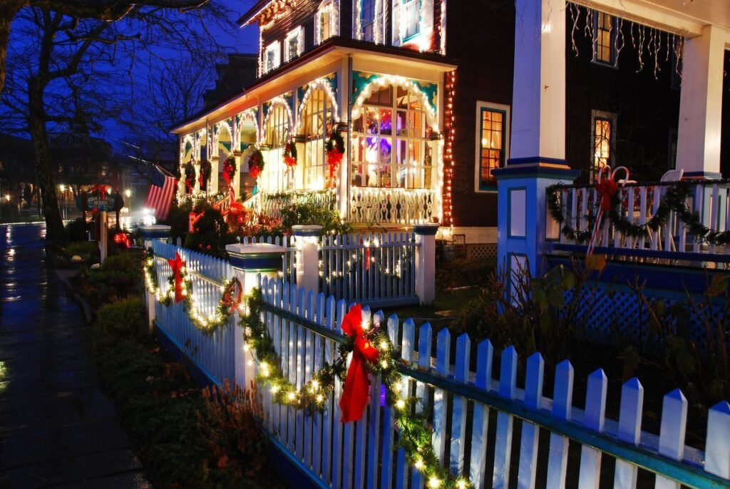 Christmas lights in Harpers Ferry, West Virginia.