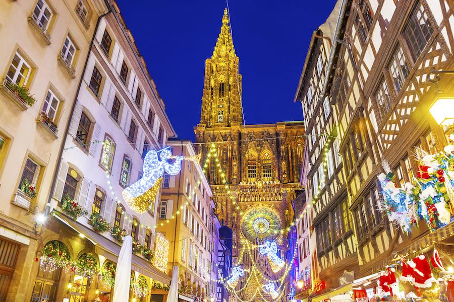 Christmas lights in Strasbourg, France.