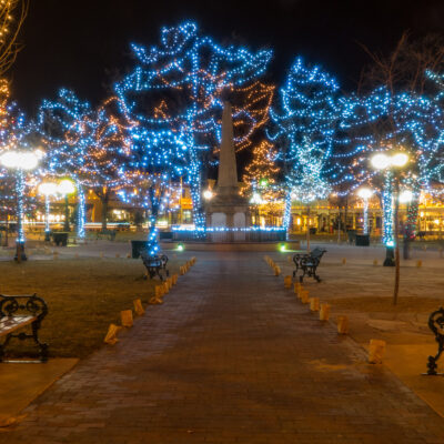 Christmas lights in the historic Santa Fe Plaza.