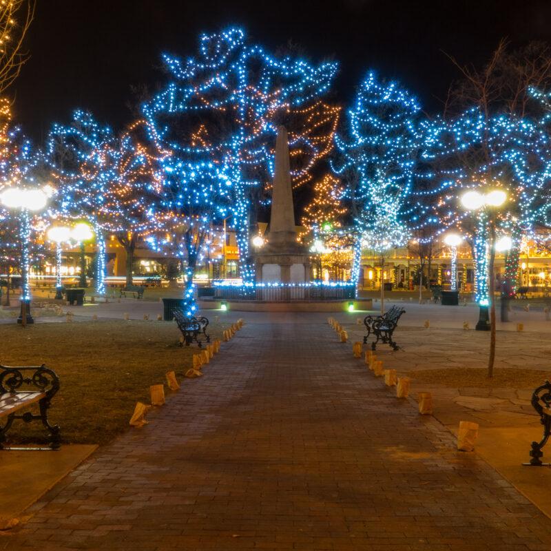 Christmas lights in the historic Santa Fe Plaza.