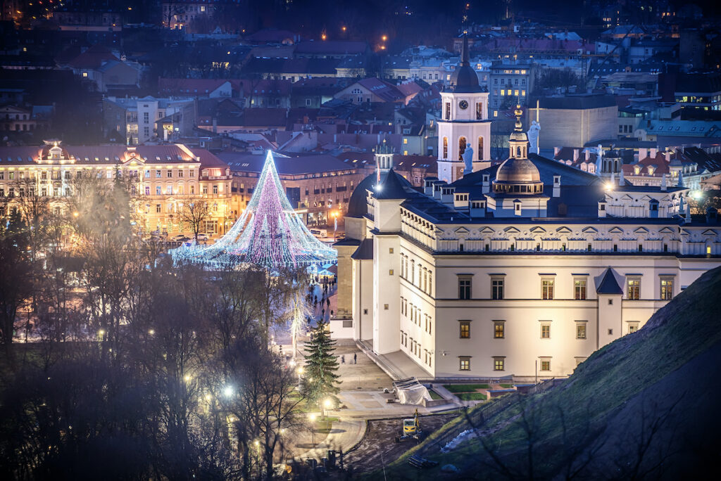 Christmas lights in Vilnius, Lithuania.