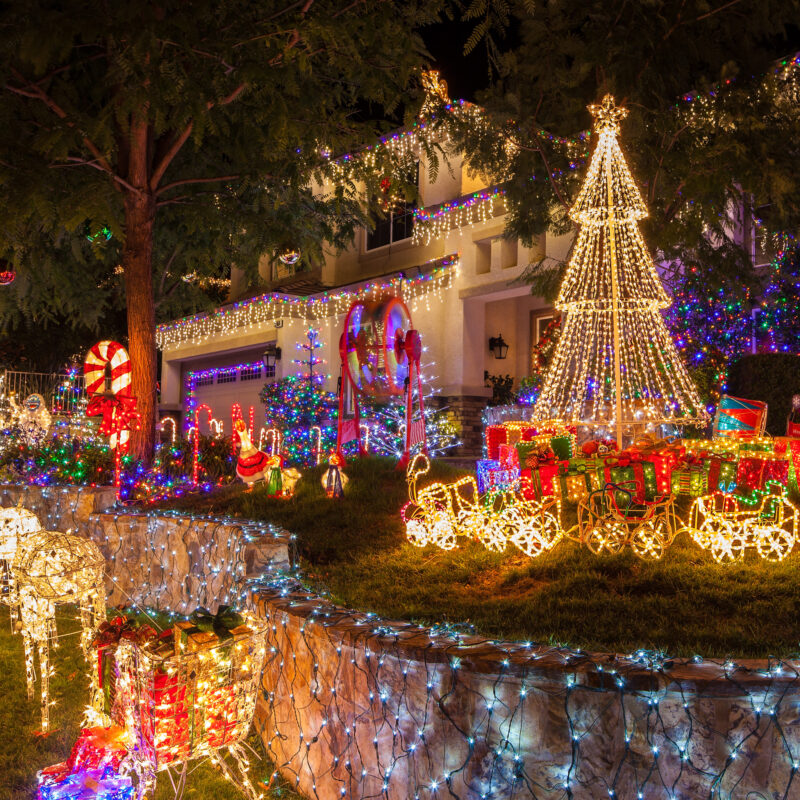Christmas lights on a house in Southern California.