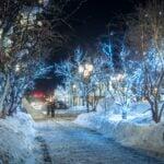 Christmas lights on a snowy night in Aspen, Colorado.