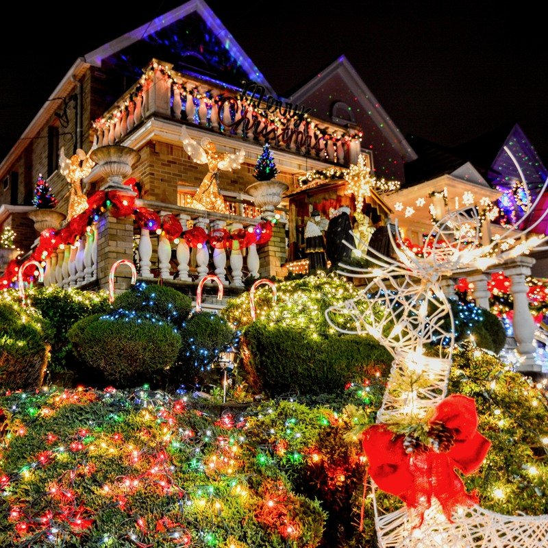 Christmas lights on house in Europe