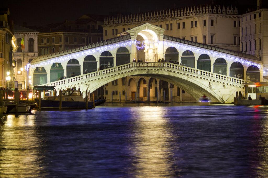 Christmas lights on the Rialto Bridge in Venice.