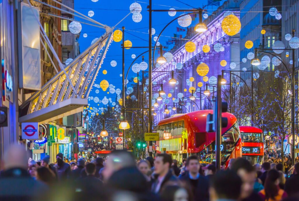 Christmas lights over London's Oxford Street.