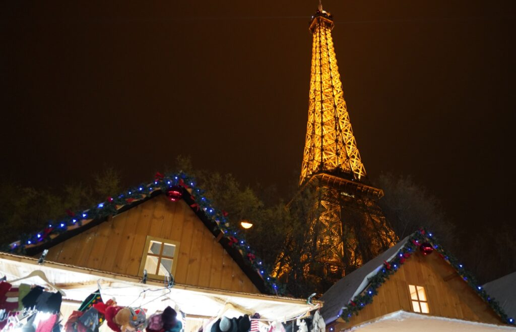 Christmas markets in Paris, France.