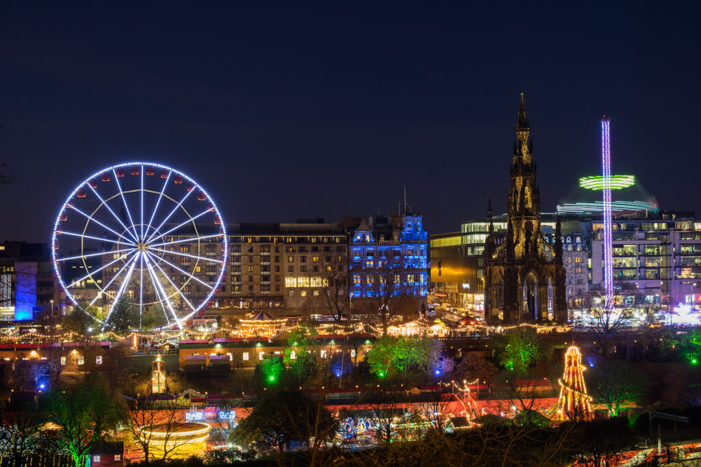 Christmas time in Edinburgh, Scotland.