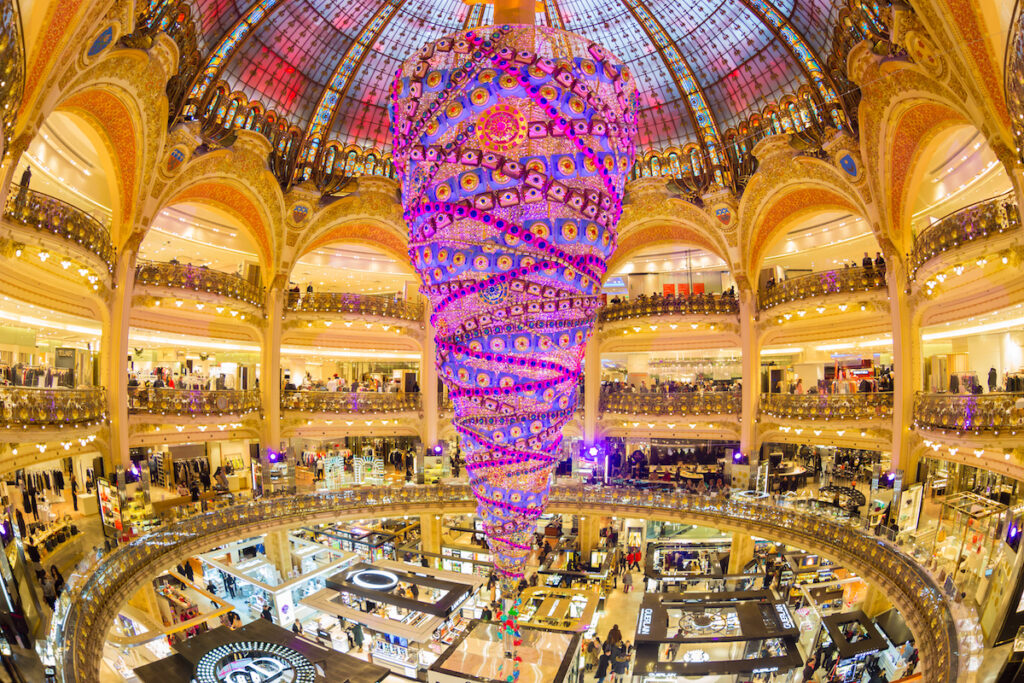 Christmas tree chandelier at Galeries Lafayette in Paris.
