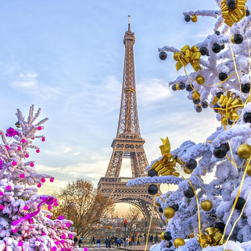 Christmas trees near the Eiffel Tower in Paris.